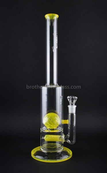 JM Flow Fat Can Inline to Crystal Ball Perc Water Pipe - Lemon Drop - Brothers with Glass - 1