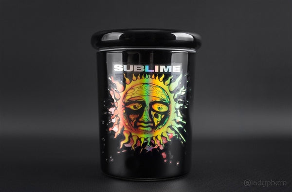 Sublime Black and Rasta Glass Stash Jar - 1/4 oz - Brothers with Glass