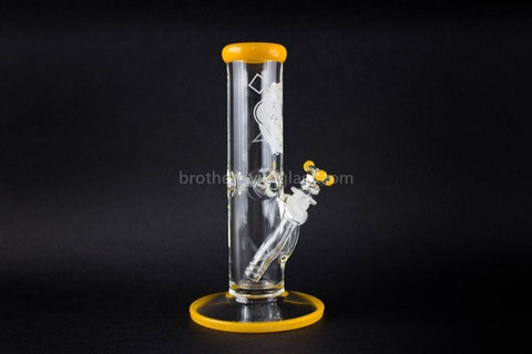 HVY Glass 10 Inch Straight 9mm Water Pipe - Yellow - Brothers with Glass - 1