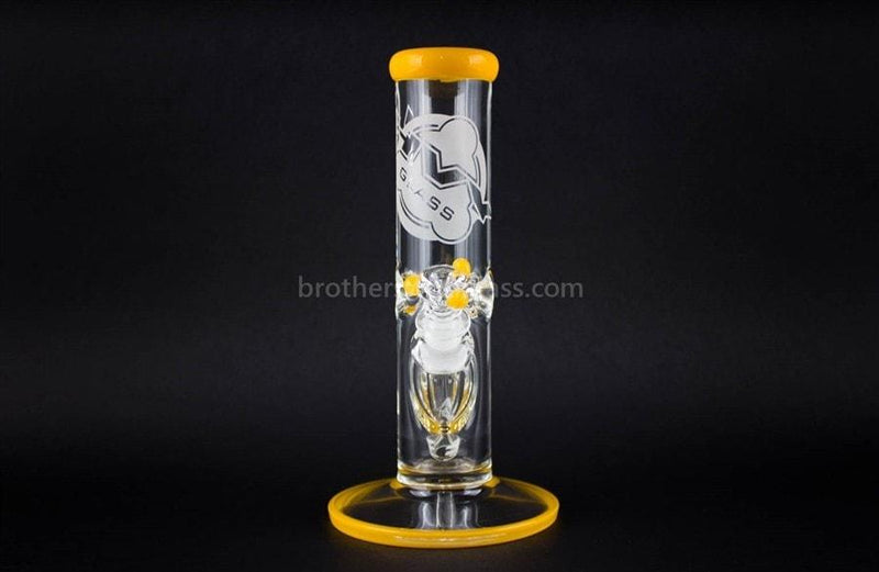 HVY Glass 10 Inch Straight 9mm Water Pipe - Yellow - Brothers with Glass - 2