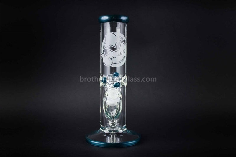 HVY Glass 10 Inch Straight 9mm Water Pipe - Blue - Brothers with Glass - 2
