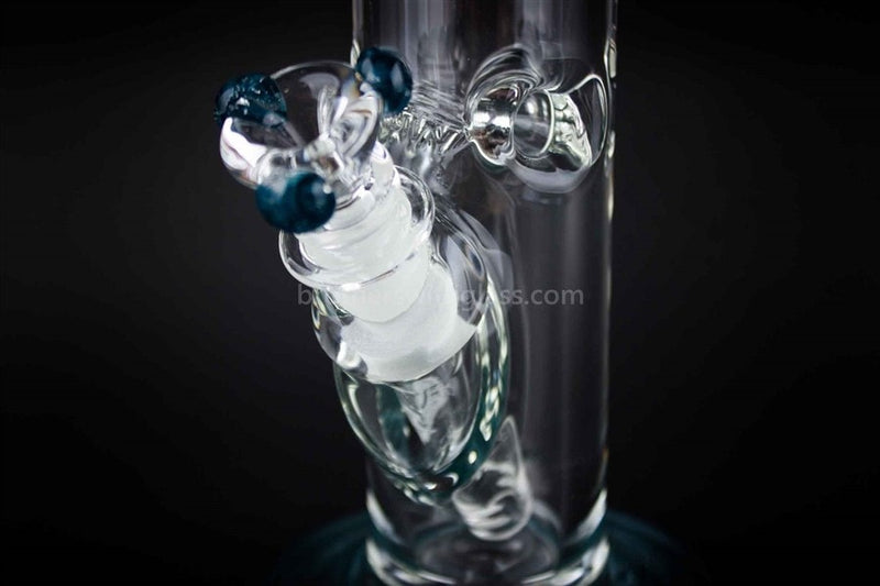 HVY Glass 10 Inch Straight 9mm Water Pipe - Blue - Brothers with Glass - 3
