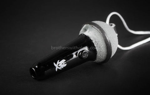 Mathematix Glass Mini Sandblasted Microphone Pendant Hand Pipe - Brothers with Glass - 1