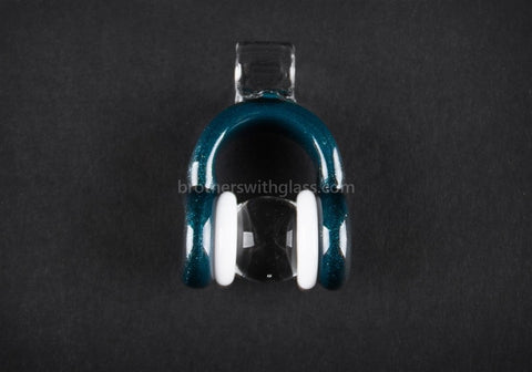 Mathematix Glass Mini Dichro Headphones Pendant - Teal - Brothers with Glass - 2
