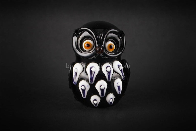 Mathematix Glass Black Vintage Owl Hand Pipe - Brothers with Glass - 1