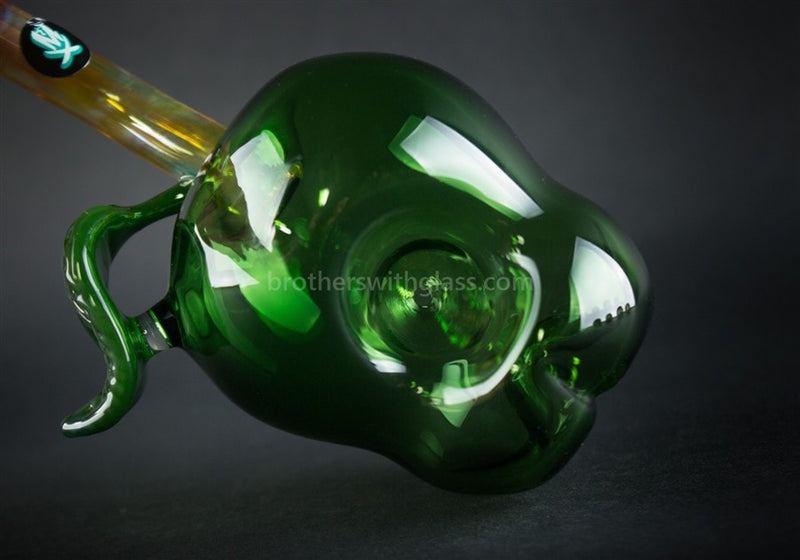 Mathematix Glass Artistic Green Apple Hand Pipe - Brothers with Glass - 6