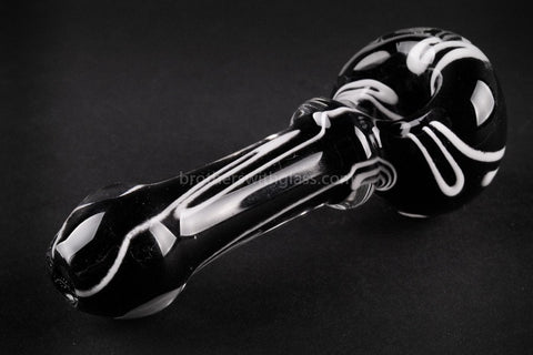 Nebula Glass Cursive Frit Hand Pipe - Black with White - Brothers with Glass - 2