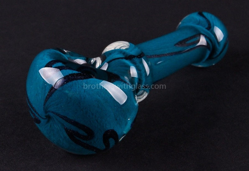 Nebula Glass Cursive Frit Hand Pipe - Teal - Brothers with Glass - 2