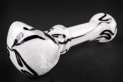 Nebula Glass Cursive Frit Hand Pipe - White with Black - Brothers with Glass - 1