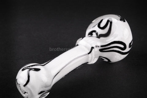 Nebula Glass Cursive Frit Hand Pipe - White with Black - Brothers with Glass - 2