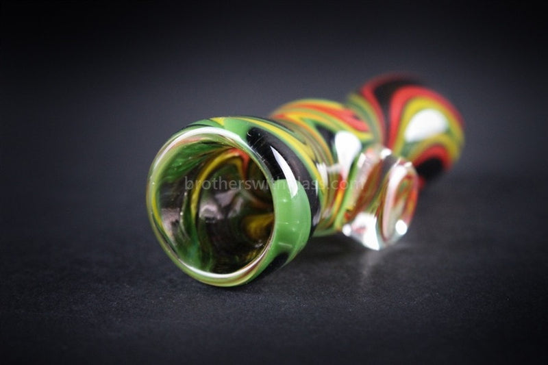 Nebula Glass Cursive Frit Chillum Hand Pipe - Rasta - Brothers with Glass - 2