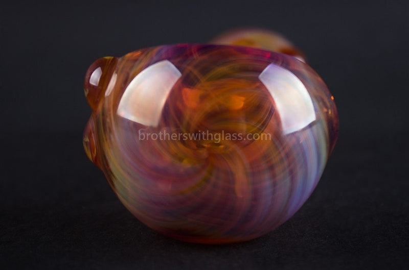Nebula Glass Amber Swirl Dotty Hand Pipe - Brothers with Glass - 3