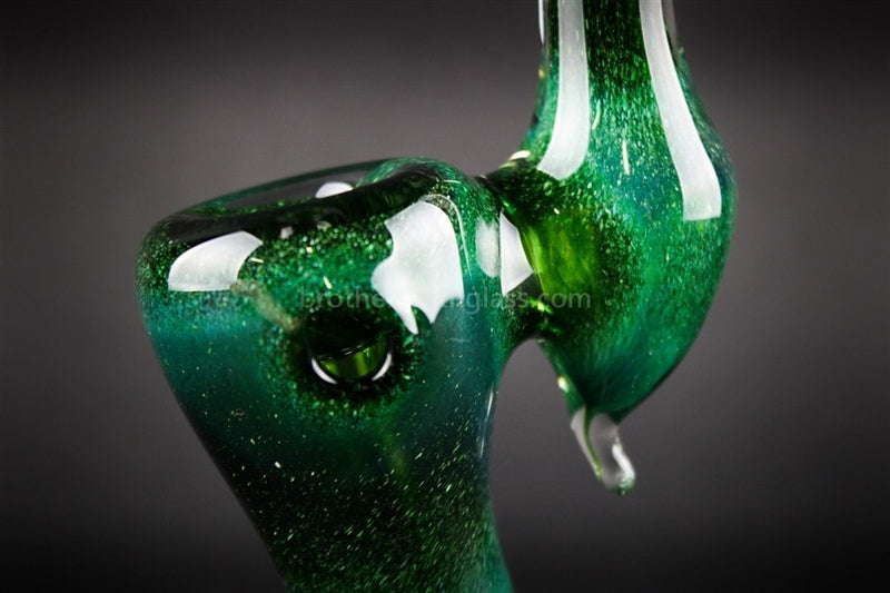 Nebula Glass Green Glow Frit Bubbler Water Pipe - Brothers with Glass - 4
