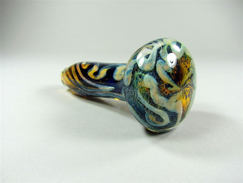 Nebula Glass Titan Pipe - Blue with Fumed Underlay - Brothers with Glass - 3