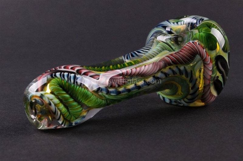 Nebula Glass Green Inside Out Cane Blitz Glass Pipe - Brothers with Glass - 2