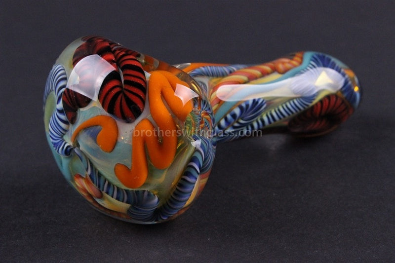 Nebula Blitz Inside Out Cane Glass Pipe - Brothers with Glass - 1