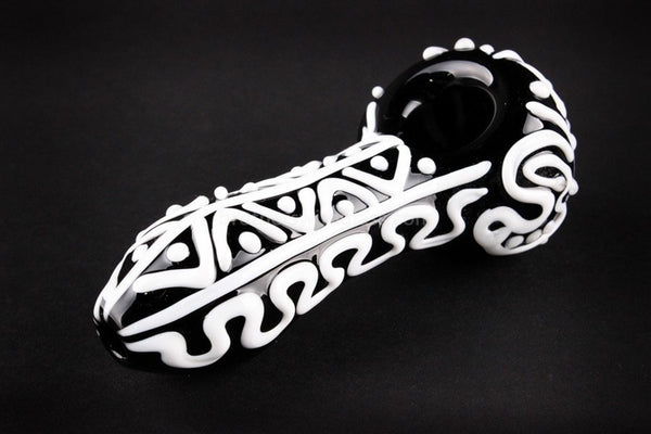 Nebula Glass Swirls and Dots Hand Pipe - Black and White - Brothers with Glass - 1