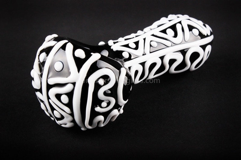 Nebula Glass Swirls and Dots Hand Pipe - Black and White - Brothers with Glass - 2