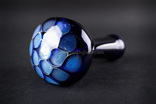 Nebula Glass Dark Blue Honeycomb Hand Pipe - Brothers with Glass - 1