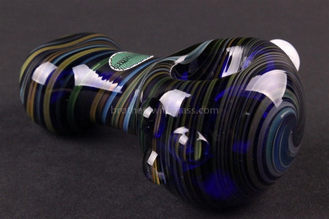 Greenlite Glass Cobalt With Fumed Stripes Hand Pipe - Brothers with Glass - 1