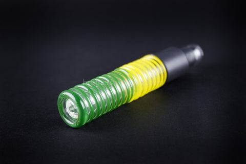 Ohana Glass Wrapped Blunt Hand Pipe - Green and Yellow - Brothers with Glass - 1