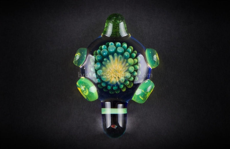 Blue and Slyme Implosion Glass Pendant with Opal - Brothers with Glass - 1