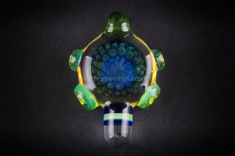 Blue and Slyme Implosion Glass Pendant with Opal - Brothers with Glass - 2