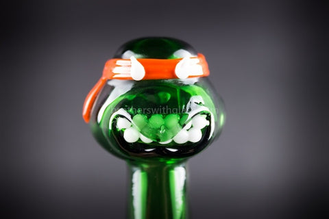 Mathematix Glass TMNT Turtle Hand Pipe - Michelangelo - Brothers with Glass - 1