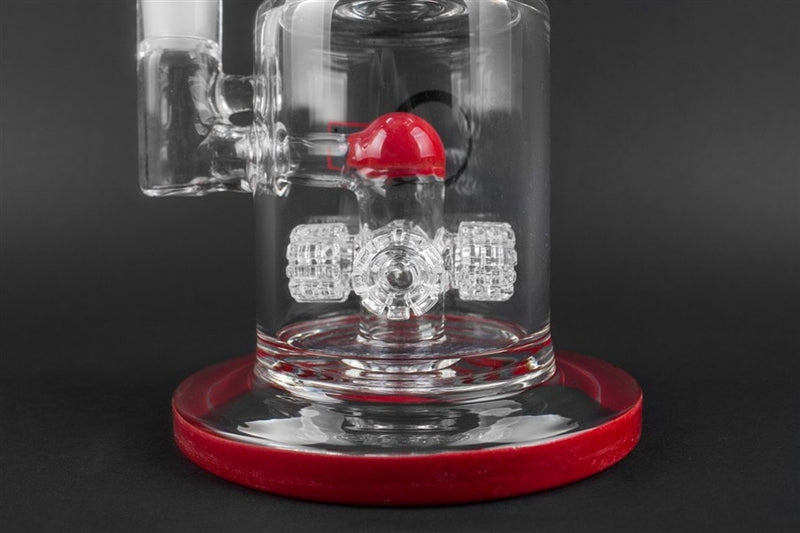 Quantum Sci Glass Quad Perc Water Pipe - Red - Brothers with Glass - 2