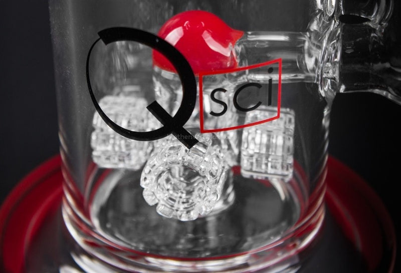 Quantum Sci Glass Quad Perc Water Pipe - Red - Brothers with Glass - 4