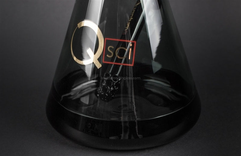 Quantum Sci Glass Beaker Water Pipe - Smoke With Black Accents - Brothers with Glass - 2