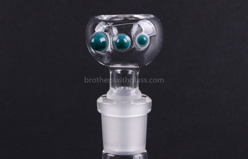 Realization Glass 14mm Slide Worked Three Dot  - Teal - Brothers with Glass - 1