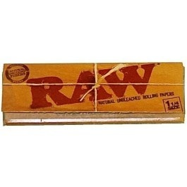 Raw 100% Natural 1 1/4 Rolling Papers - Brothers with Glass