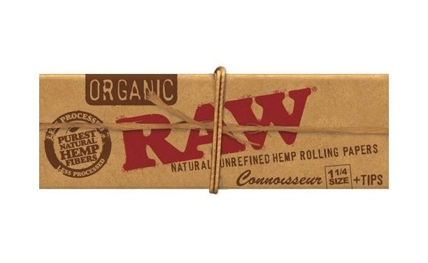 Raw Organic Hemp 1 1/4 Connoisseur Rolling Papers Plus Tips - Brothers with Glass