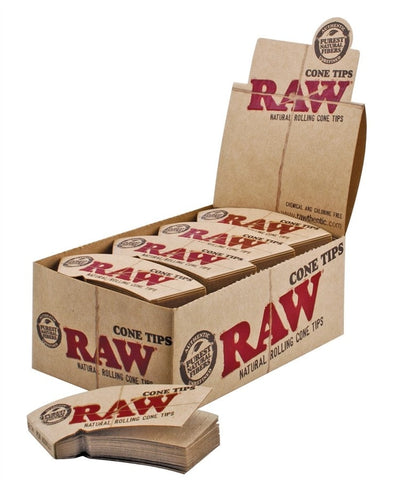 Raw Unbleached Tips For Rolling Papers - Cone Tips - Brothers with Glass