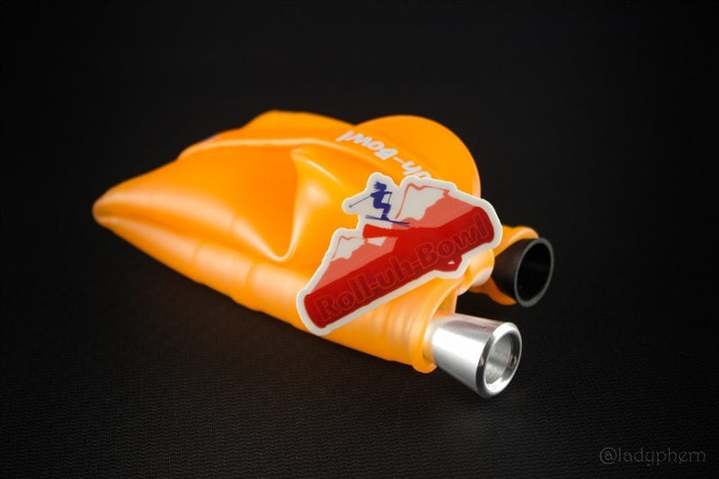 Roll-Uh-Bowl Water Pipe - Orange Sherburnt - Brothers with Glass - 4