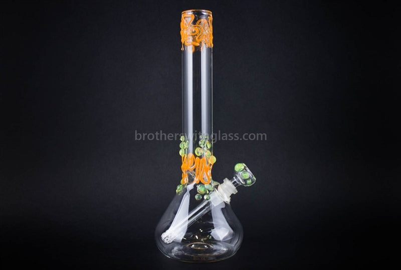 Realazation 12 In Worked Beaker Water Pipe - Orange and Slyme - Brothers with Glass - 1