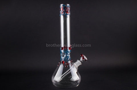 Realazation 12 In Worked Beaker Water Pipe - Red and Blue - Brothers with Glass - 1