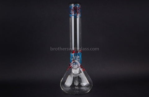 Realazation 12 In Worked Beaker Water Pipe - Red and Blue - Brothers with Glass - 2