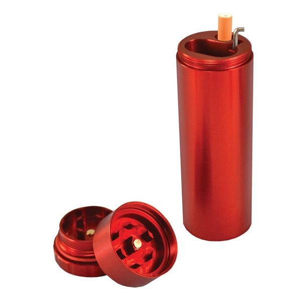 All in One Metal Dugout with Grinder - Red - Brothers with Glass - 1