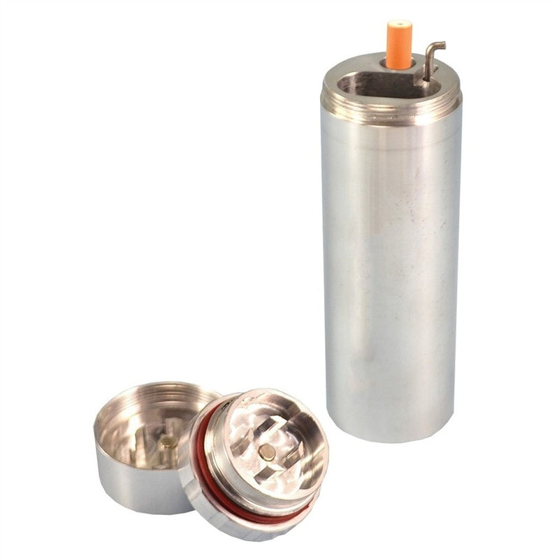 All in One Metal Dugout with Grinder - Silver - Brothers with Glass - 1