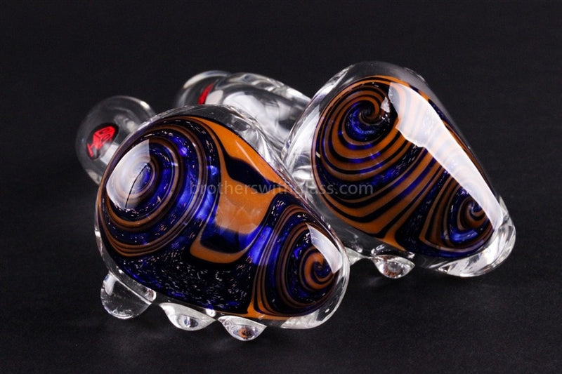 Mathematix Glass Dichro Reversal Wig Wag Sherlock Hand Pipe - Blue and Orange - Brothers with Glass - 3