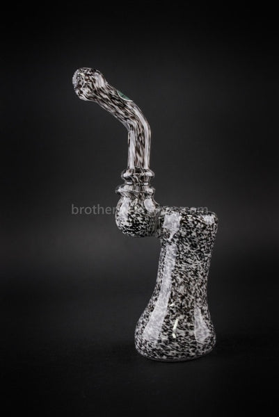 Greenlite Glass Black and White Frit Sherlock Water Pipe - Brothers with Glass - 1