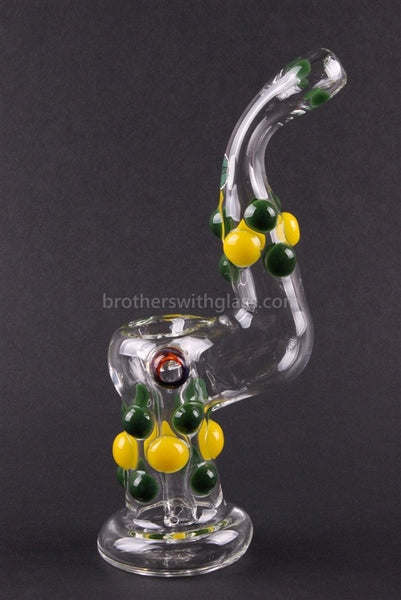 Greenlite Glass Colored Marble Bubbler Water Pipe - Yellow and Green - Brothers with Glass - 1