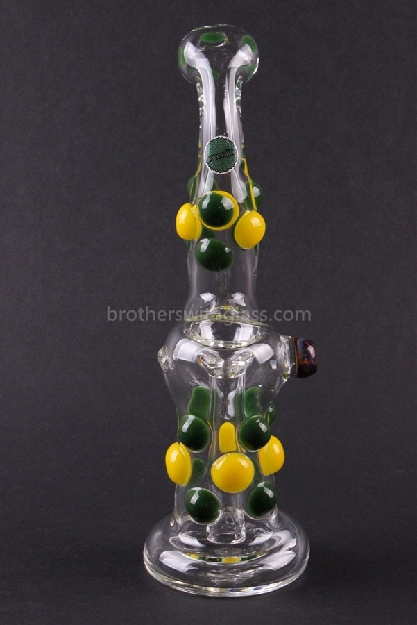 Greenlite Glass Colored Marble Bubbler Water Pipe - Yellow and Green - Brothers with Glass - 2