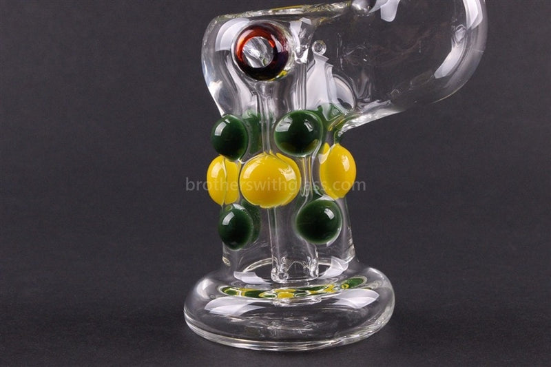 Greenlite Glass Colored Marble Bubbler Water Pipe - Yellow and Green - Brothers with Glass - 3