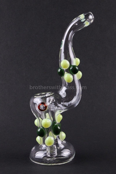 Greenlite Glass Colored Marble Bubbler Water Pipe - Greens - Brothers with Glass - 1