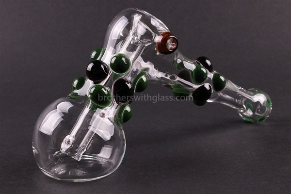 Greenlite Glass Colored Marble Hammer Bubbler Water Pipe - Green and Black - Brothers with Glass - 1