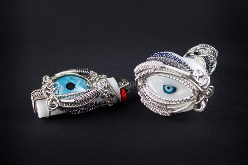 Chameleon Glass With Nikki Wire Wrap Eyes Pipe Combo - Brothers with Glass - 1