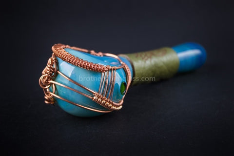 Liberty Glass Blank With Nikki Wire and Leather Wrap Pipe - Reddit - Brothers with Glass - 2